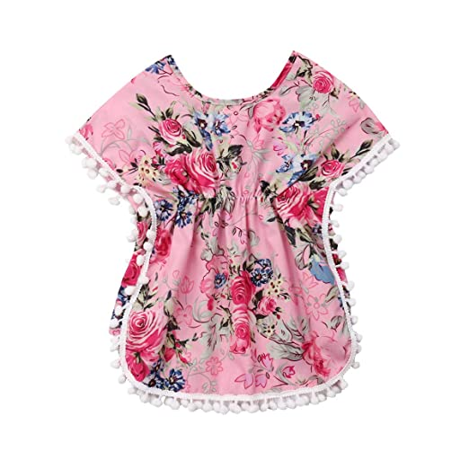 df1faaaa12 Amazon.com: Kids Toddler Girls Cover Up Swimsuit Wraps Baby Floral Beach  Dress Sundress with Pompom Tassel: Clothing
