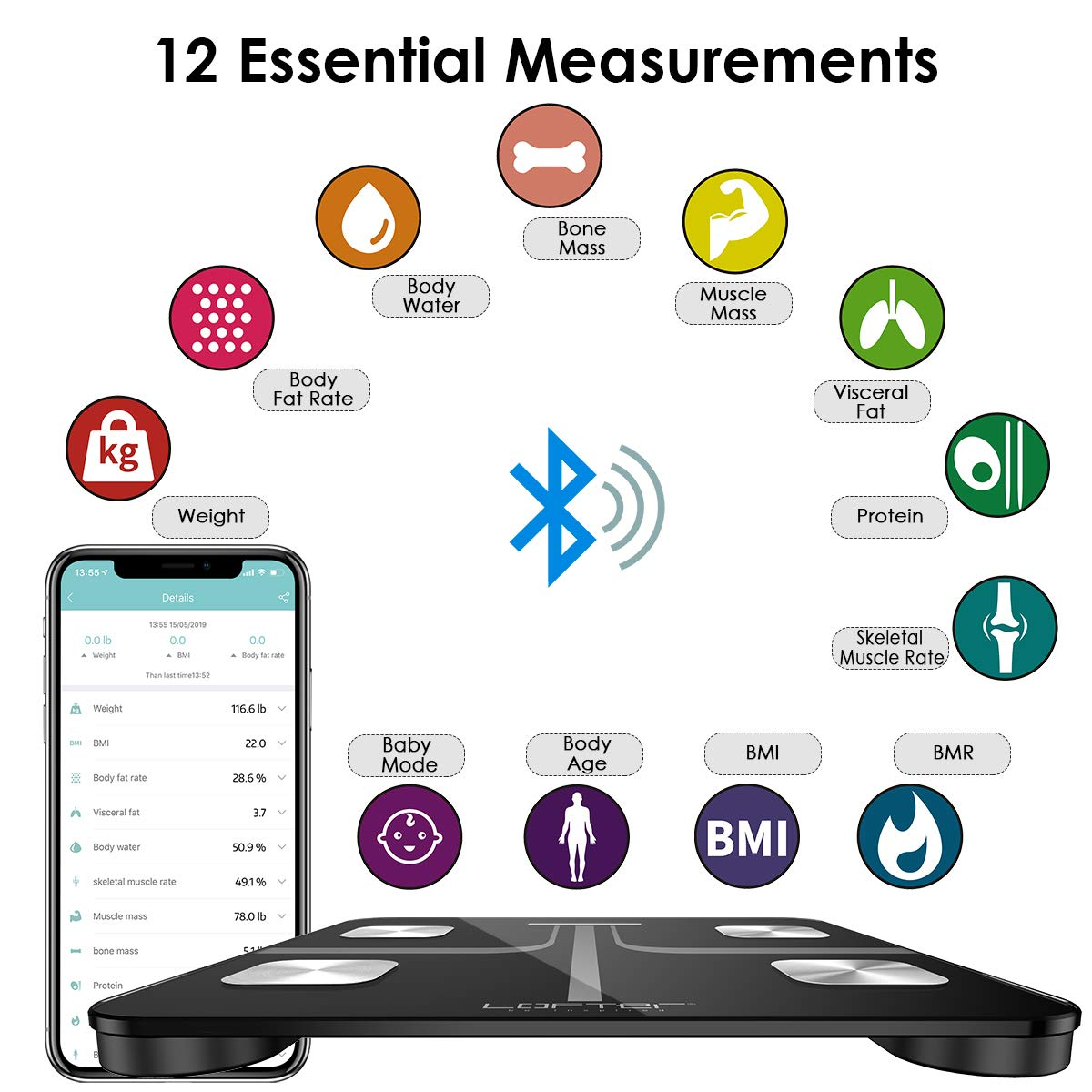 Smart Body Fat Scale, LOFTER Digital Weight Scale Bluetooth Wireless Bathroom Scale 12 Body Composition Analyzer with iOS Android APP for Baby Mode, Body Weight, Fat, Water, BMI 400lbs – Black