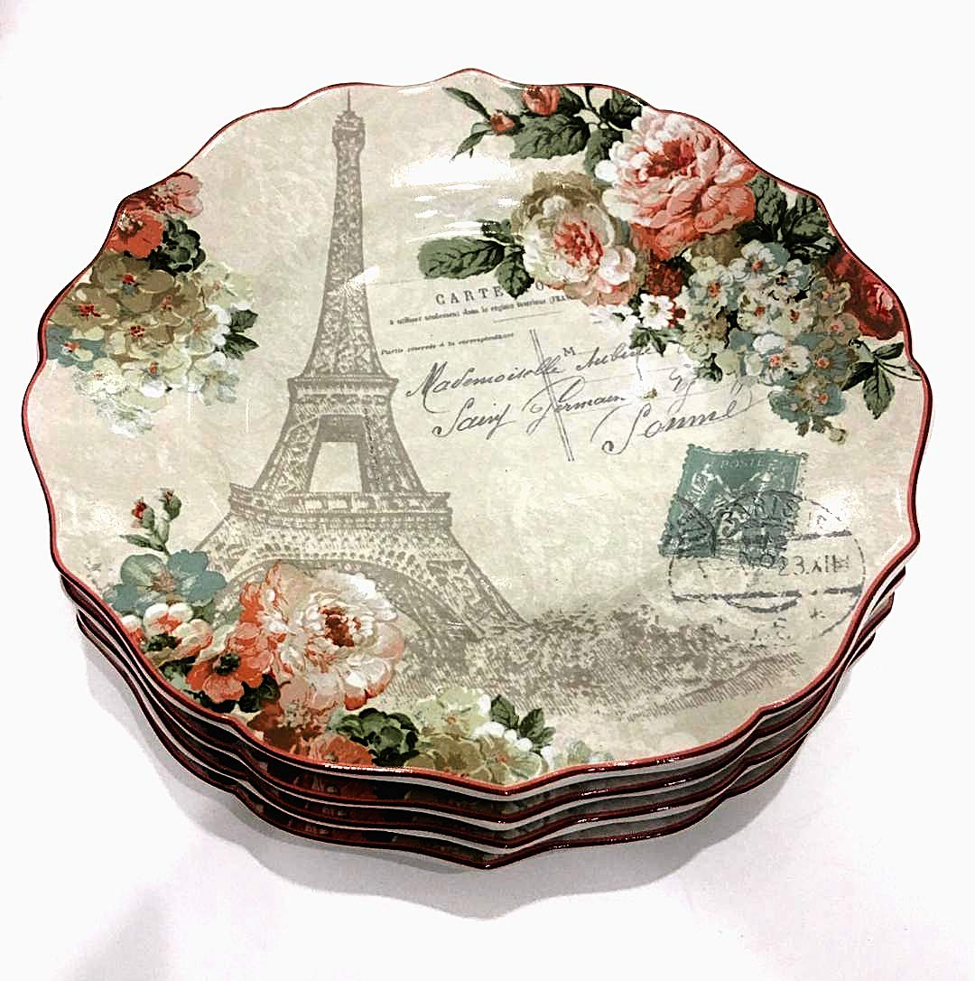 222 Fifth Paris Holiday Salad/Luncheon Plates (Set of 4) 8.5' Diameter | Features Eiffel Tower and Floral Design with Scalloped Edge