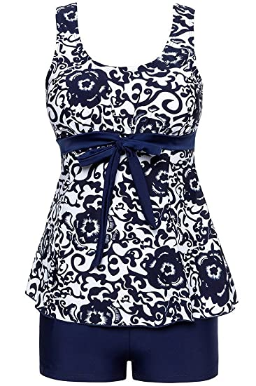 47e3744e08251 Ecupper Women s Tankini Sets Plus Size Swimsuit Two Piece Swimwear with Boy  Shorts Navy S