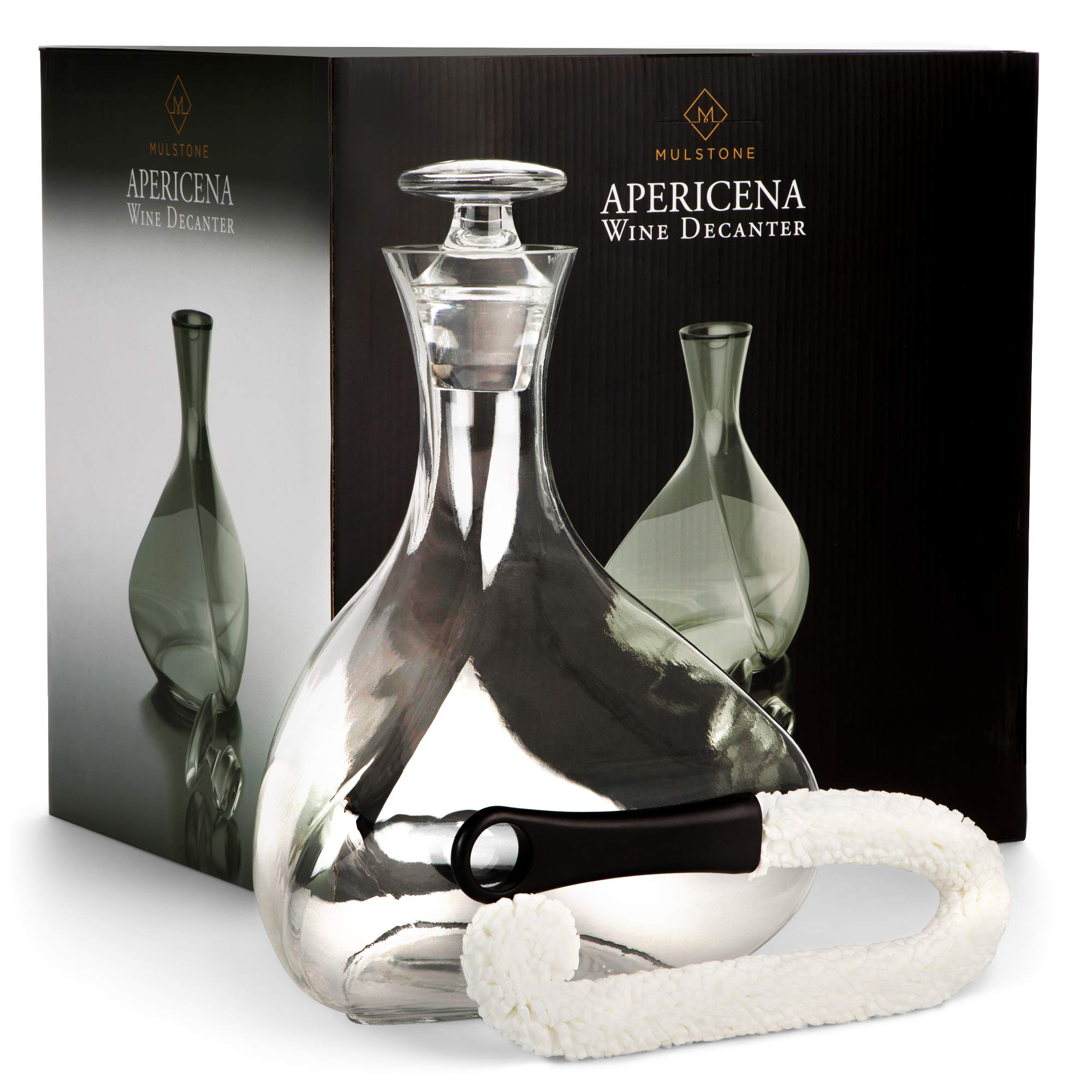 Prime Sale Day - MULSTONE - Apericena Wine Decanter & Aerating Carafe Set | 100% Lead-Free | Perfect Gift for Liquor Lovers | With Stopper & Free Cleaner | For Wines, Vodka & Whiskey | 90 oz