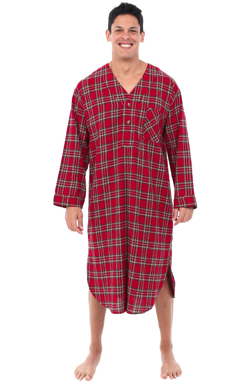 Galleon - Alexander Del Rossa Mens Flannel Nightshirt 9037dd2ce