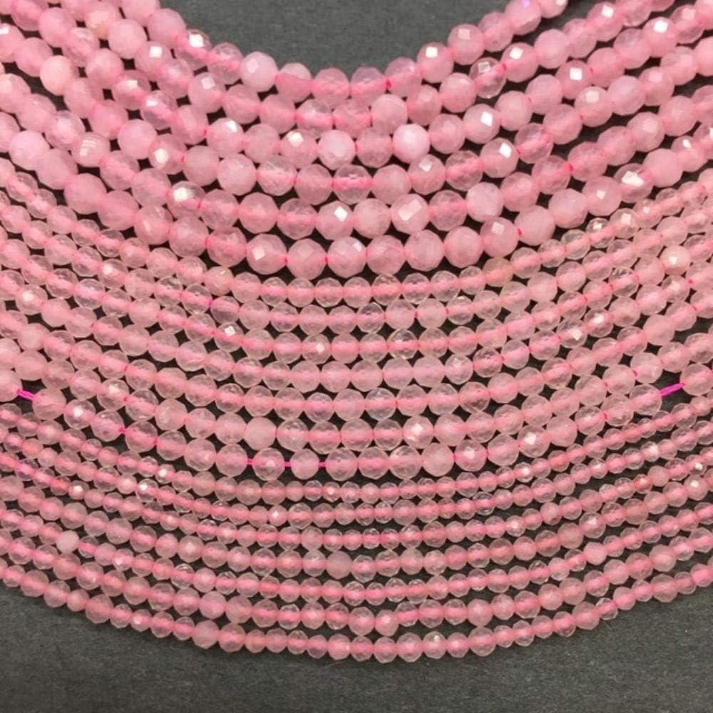 Precio de fábrica Gema natural Cuentas facetadas 2/3/4 mm Piedra rosa Cristal Cuentas Material de selección al por mayor para la fabricación de joyas, Cristal rosa, 2 mm Aproximadamente 185 cuentas
