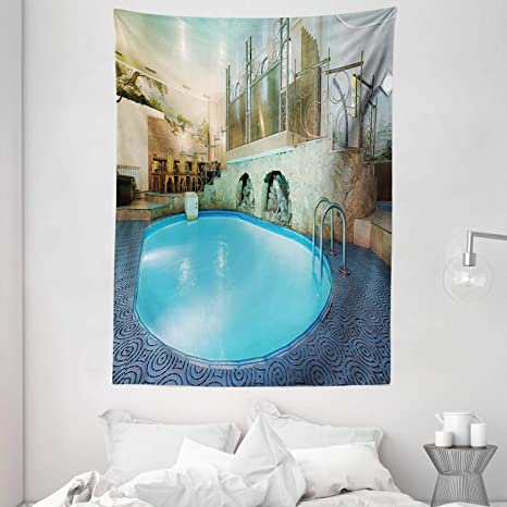 Ambesonne Modern Tapestry Vivid Blue Swimming Pool In Spa Interior Resort Relaxation And Theraphy Theme Wall Hanging For Bedroom Living Room Dorm Decor 60 X 80 Blue Aqua Beige Home