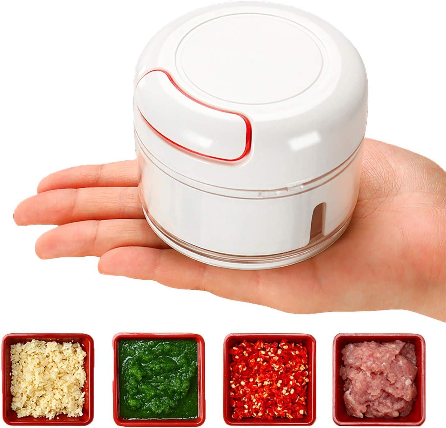 Mini Manual Food Chopper - Hand Pull Food Processor and Food cutter, Garlic Press Mincer Vegetable Grinder for Kitchen Gadgets