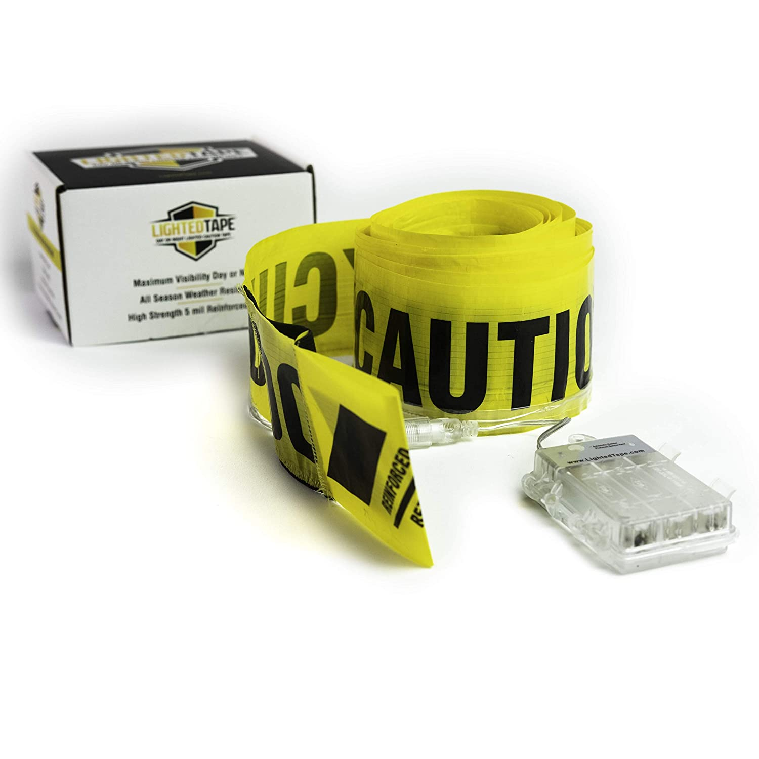 LED Lighted Tape Yellow Caution Tape Black Text on Yellow Background High Visibility Day Or Night 5mil Barricade Tape with Flashing LED Lights and Weather Resistant Sealed Battery Case