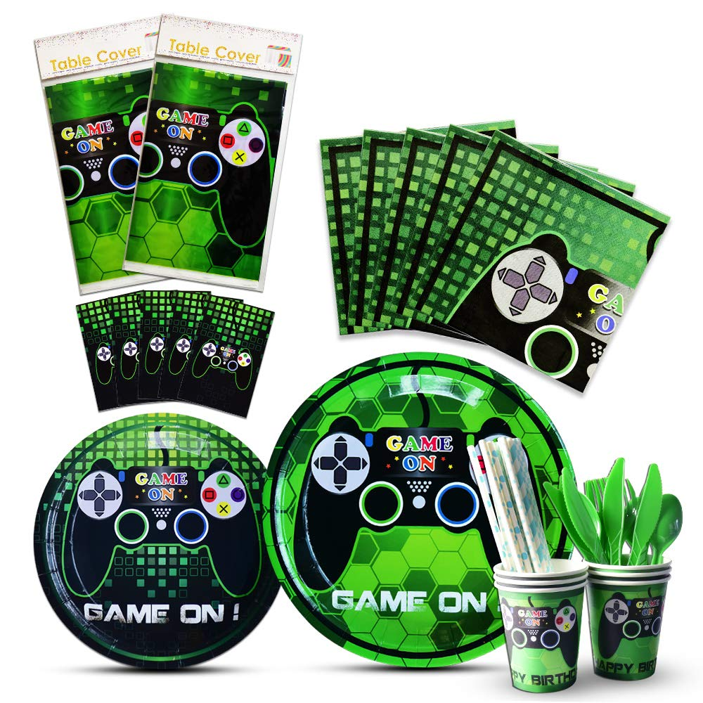 WERNNSAI Video Game Party Tableware Set - Game Theme Party Supplies for Boy Game Players Geeks, Includes Cutlery Bag Table Cover Plates Cups Napkins Straws Utensils Serves 16 Guests 146 PCS by WERNNSAI