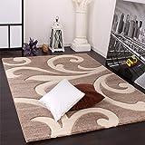 Designer Teppich mit Konturenschnitt Modern Beige Creme, Grösse:160x230 cm
