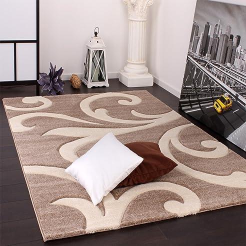 Designer Teppich mit Konturenschnitt Modern Beige Creme, Grösse ...