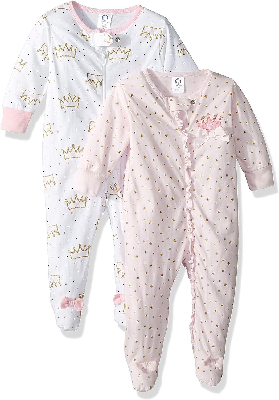 Gerber Baby Girls' 2-Pack Sleep 'N Play, princess crown, Newborn