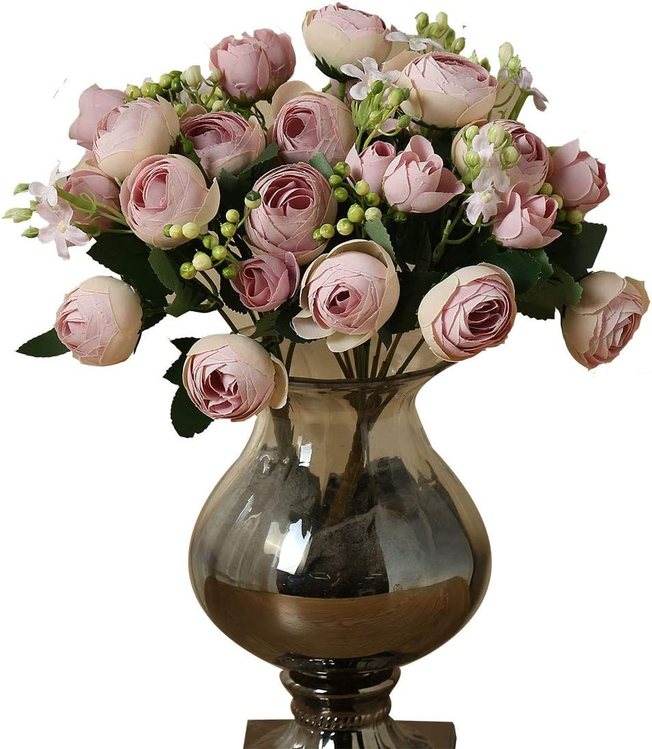 3PCS Artificial Flowers, Fake Peony Silk, Fake Flowers Decor Wedding Party Decoration Bouquets Home Garden