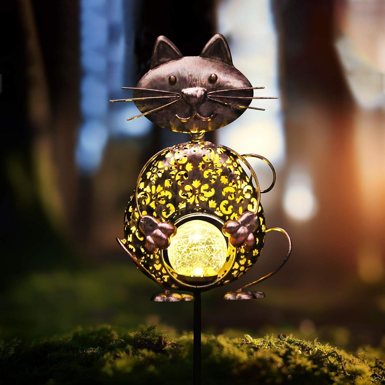 Kaixoxin Garden Solar Lights Metal Cat Crackle Glass Globe Stake Lights,Waterproof Warm White LED Solar Path Lights (Cat-Bronze)