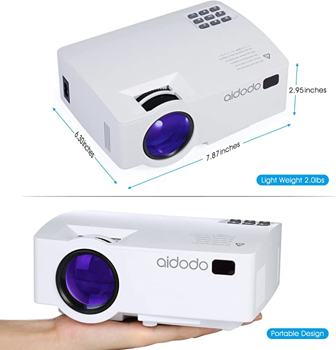 Proyector, TOQIBO LED Mini video Proyector 1800 lúmenes con iPhone ...