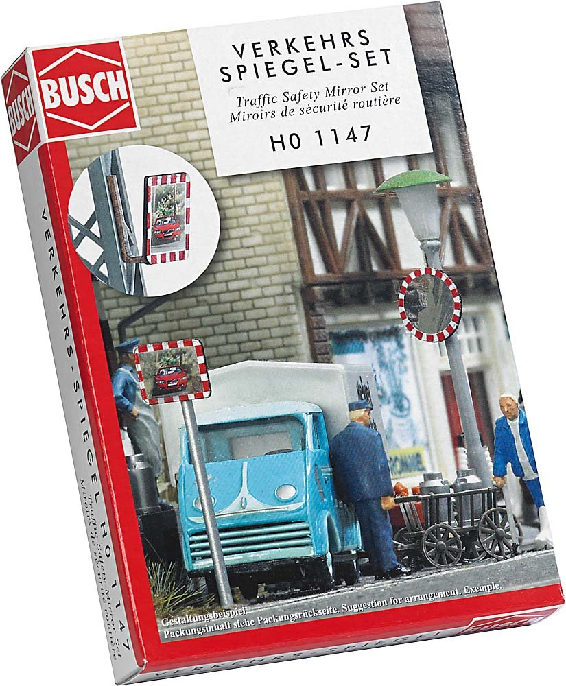 Busch 1147 Roadway Safety Mirror Set HO Scenery Scale Model Scenery MODELS11 INC