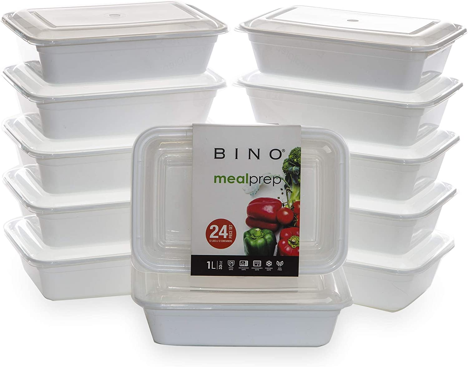Amazon Com Bino Meal Prep Containers With Lids 1 Compartment 33 Oz 12 Pack White Bento Box Lunch Containers For Adults Food Containers Meal Prep Food Prep Containers Set Kitchen Dining