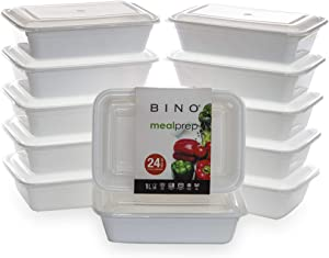 BINO Meal Prep Containers with Lids - 1 Compartment /33 oz [12-Pack], White - Bento Box Lunch Containers for Adults Food Containers Meal Prep Food Prep Containers Set