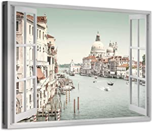 ItalianItalian Cityscape Canvas Wall Art: Venice City View Picture Seaside Country Painting Print for Room (36'' x 24'' x 1 Panel)