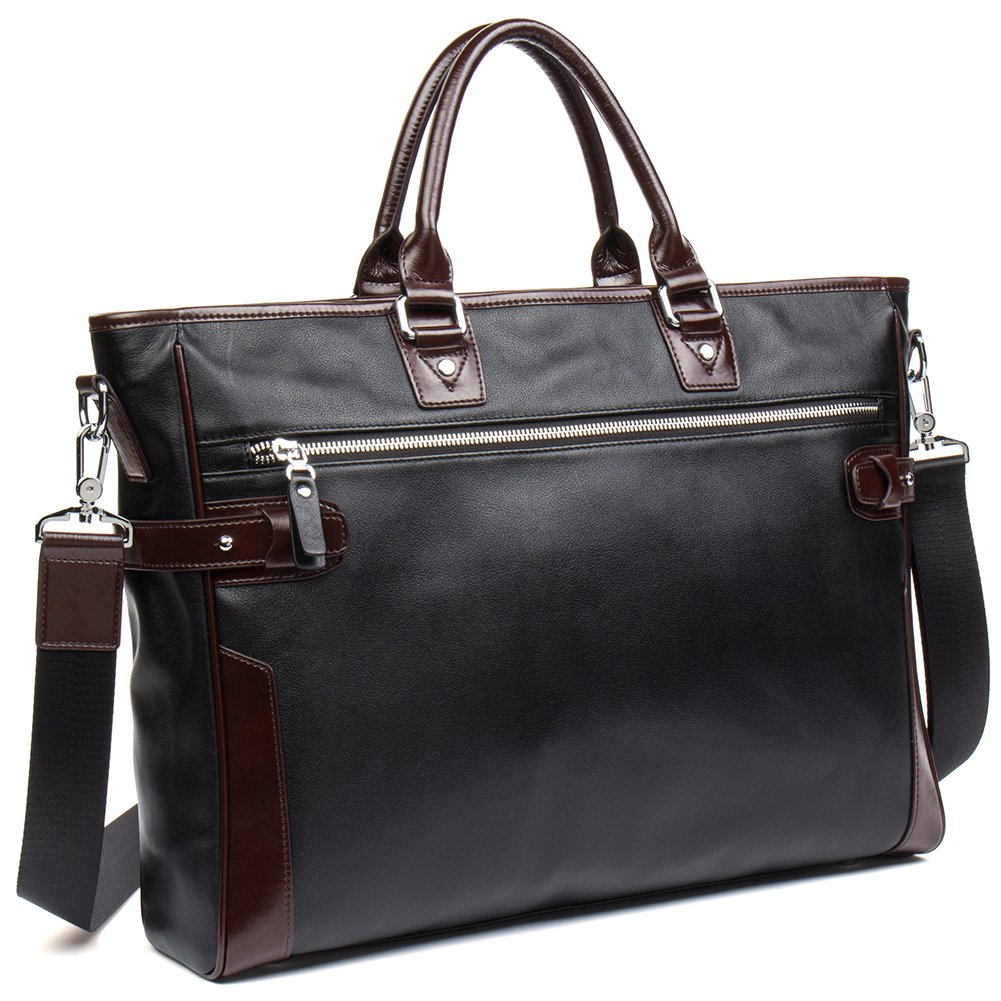 NEW SALE! Men Women Briefcase Cowhide Travel Work Business Bags 15'' Laptop Shoulder Bag - MANTOBRUCE by MANTOBRUCE
