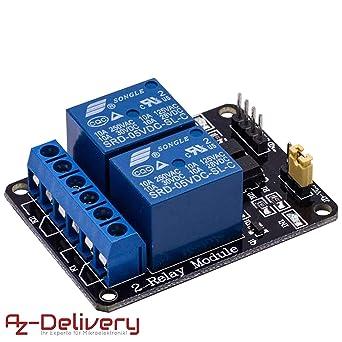 Azdelivery Rele Modulo De 2 Canales 5v Con Optoacoplador Low Level Trigger Para Arduino Con Ebook Incluido