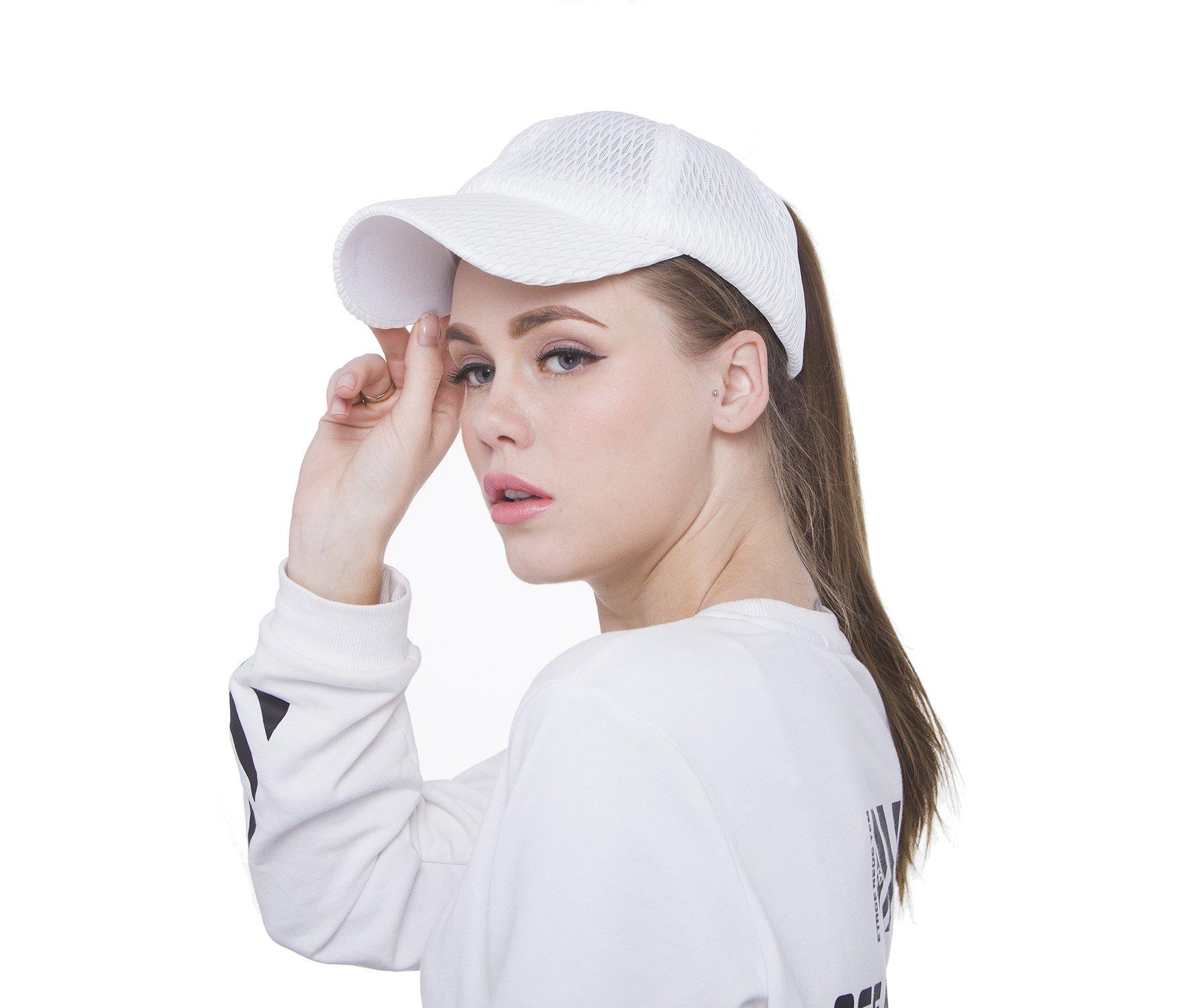 Sven Home Breathable mesh Ponytail Women's Summer Outdoor Sport Baseball Hat Golf Running Fishing Visor Sun Cap (White)