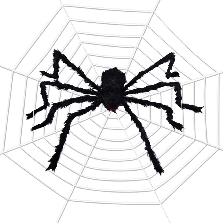 "Joyjoz Halloween Decorations with 110 Sqft Giant Spider Web, 60"" Big Fake Large Spider for Scary Halloween Yard Door & Outdoor Decor, Halloween Party Favor"