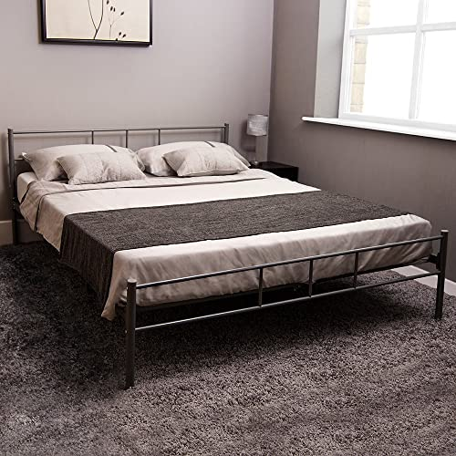 Tectake Double Metal Bed Frame King Size Modern Bedroom
