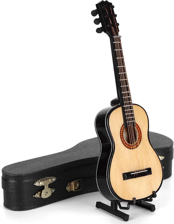 Guitarra CláSica De Madera En Miniatura, Proporciones De Detalles Altamente Simuladas Guitarra En Miniatura De Madera Conveniente Para Llevar Modelo En Miniatura De Tienda Con Soporte Y Estuche