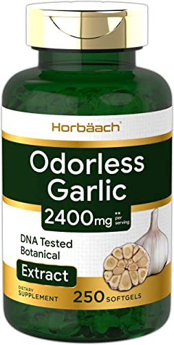 Odorless Garlic Softgels 2400 mg 250 Count Ultra Potent and Pure Garlic Extract Non-GMO Gluten Free Pills by Horbaach