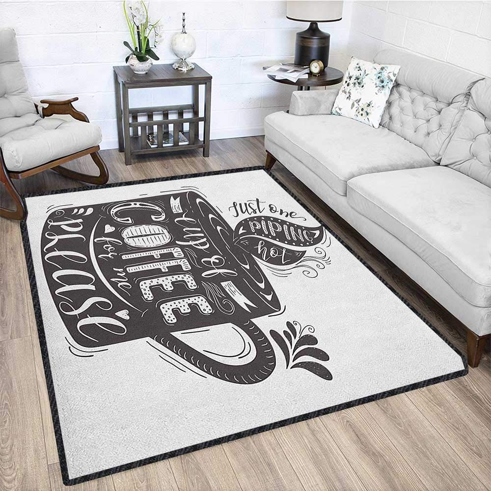 Quote Super Cozy Bathroom Rug Carpet,Hand-Drawn Artistic Lettering on a Coffee Cup Piping Hot Aromatic Beverage Non Slip Absorbent Super Cozy Dark Taupe and White 79''x95'' by Philip C. Williams