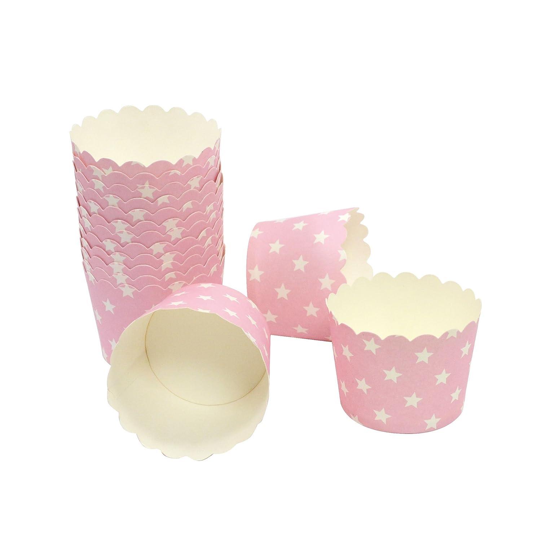 Frau WUNDERVoll® liebevolle Muffin Backformen Papier Förmchen 25 Stück, klein Durchmesser 5 cm, blau mit hellblauen Streifen, Höhe 4,5cm Höhe 4