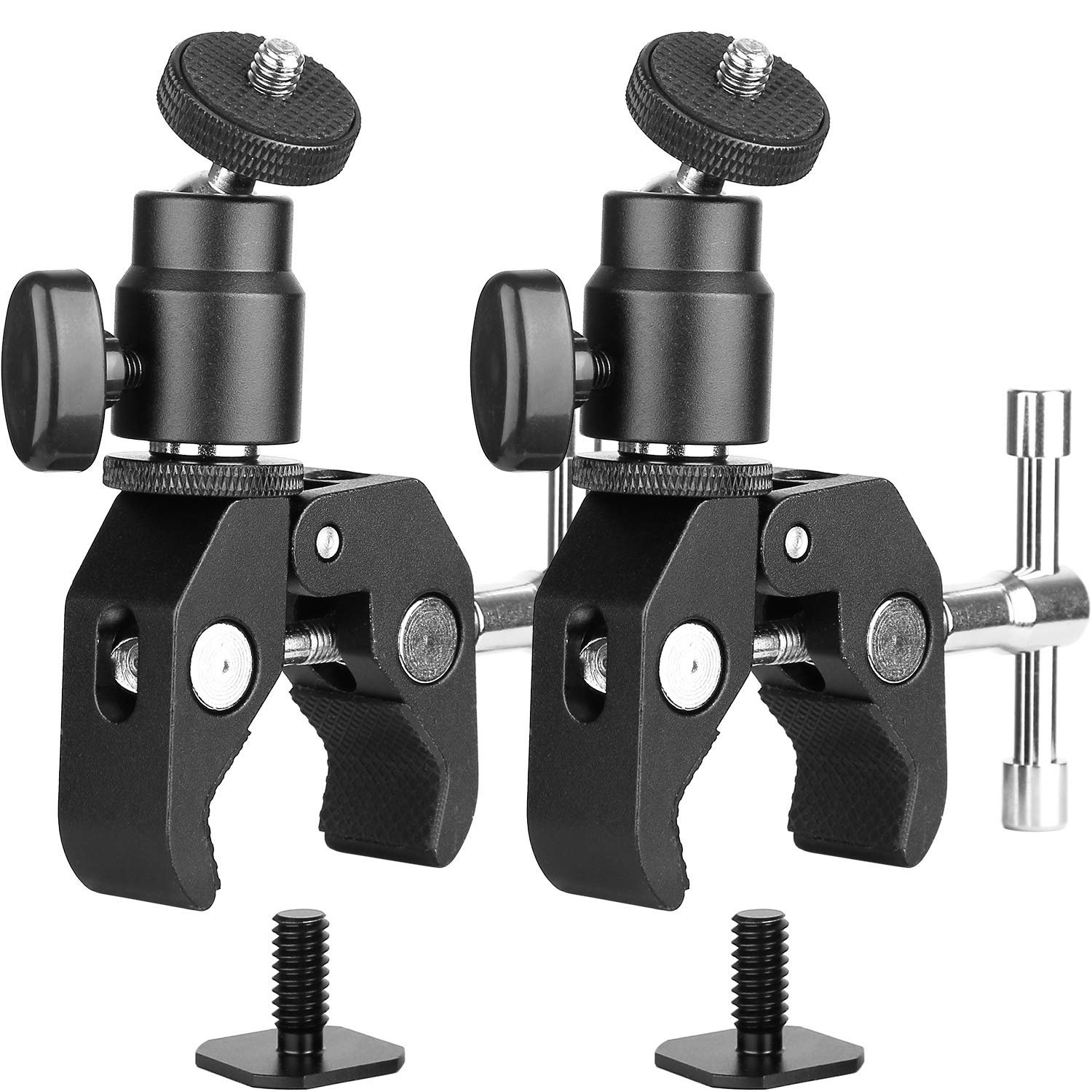 ChromLives Camera Clamp Mount Ball Head Monitor Clamp Super Clamp and Mini Ball Head Hot Shoe Mount with 1/4''-20 Tripod Screw for LCD/DV Monitor, LED Lights, Flash,Microphone and More 2Pack