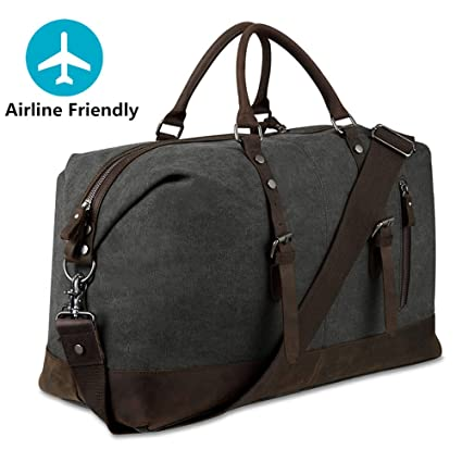 10c295d48b83 Large Holdall Duffle Bag Weekend Bags Leather for Mens and Womens (Dark  Grey)  Amazon.co.uk  Luggage