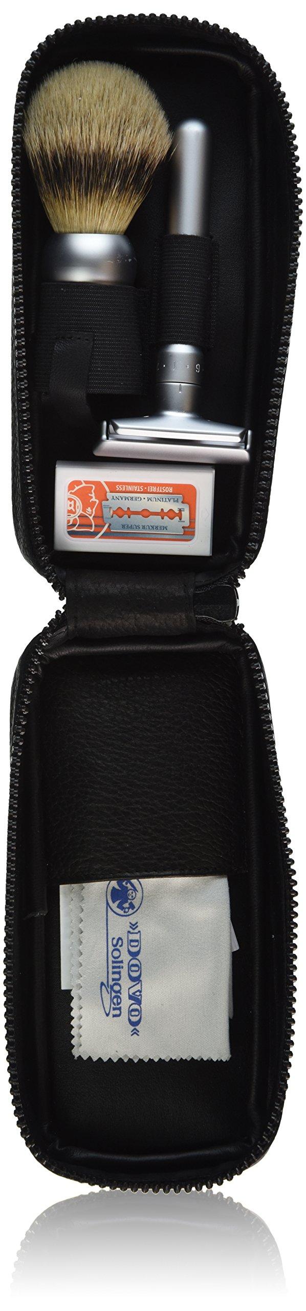 Merkur-Razor Leather Zipper Shaving Set