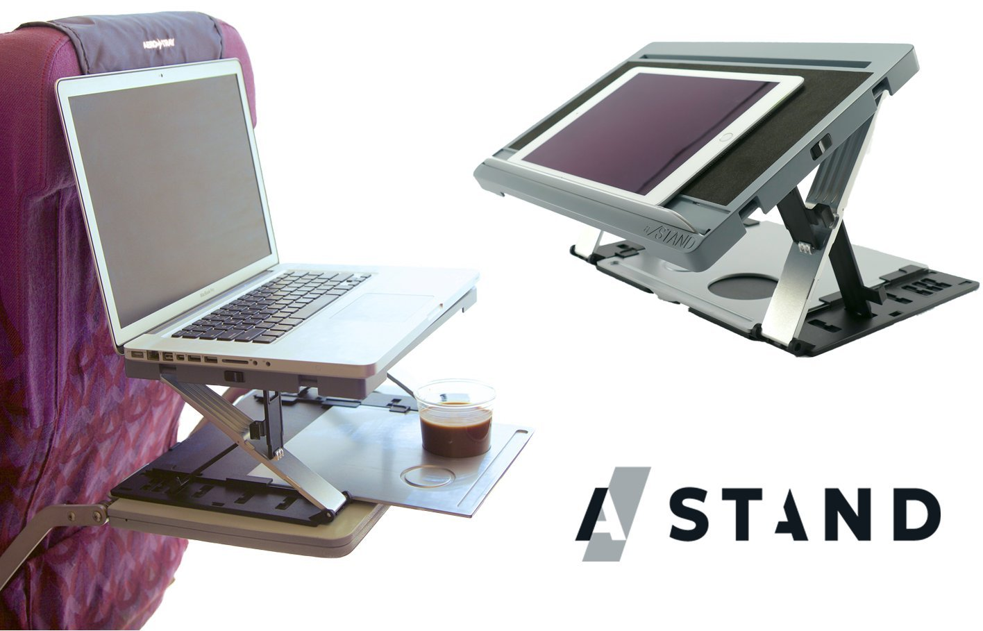 A-Stand Portable Laptop Computer Standing Desk and Tablet Holder Stand Case with 20 Adjustability Settings Grey