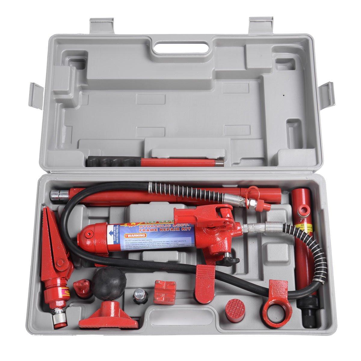 Goplus 4 Ton Porta Power Hydraulic Jack Body Frame Repair Kit Auto Shop Tool Heavy Set w/ Carrying Case by Goplus (Image #2)