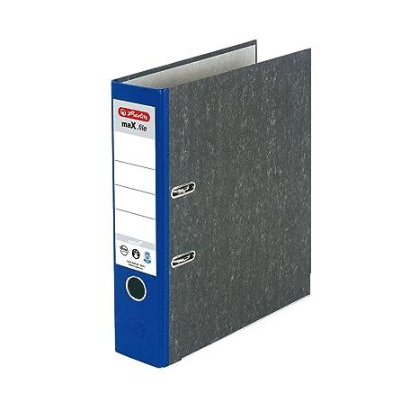 Herlitz 11012820 - Archivador A4 8 cm de grosor color azul con solapa gris (Pack