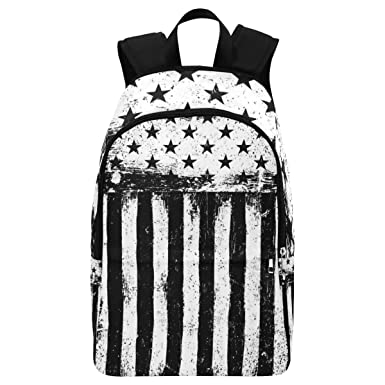 InterestPrint Black and White American Flag Casual Backpack College School  Bag Travel Daypack 8757a89f9f6a5