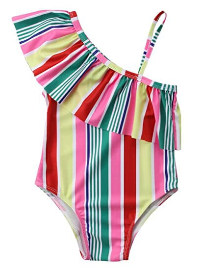 9a96cb59ca Amazon.com: BANGELY Toddler Kids Girl Rainbow Striped One Piece Swimsuit  One Off Shoulder Flouncing Bikini Bathing Suit: Clothing