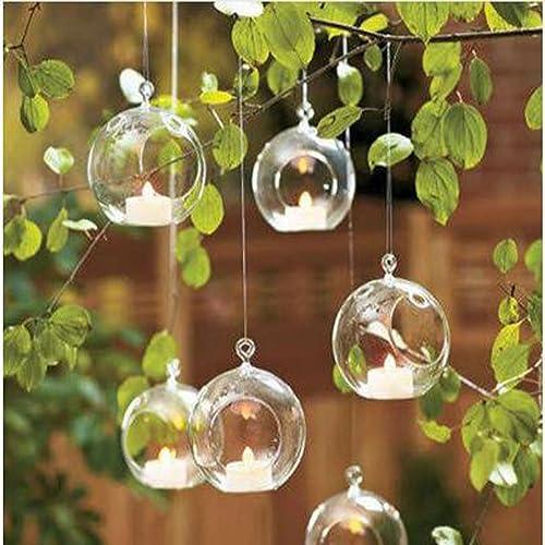 LANLONG 18pcs Small Ball Globe Shape Clear Transparent Hanging Glass Vase Flower Plants Terrarium Vase Container DIY Wedding Home Decoration Clear