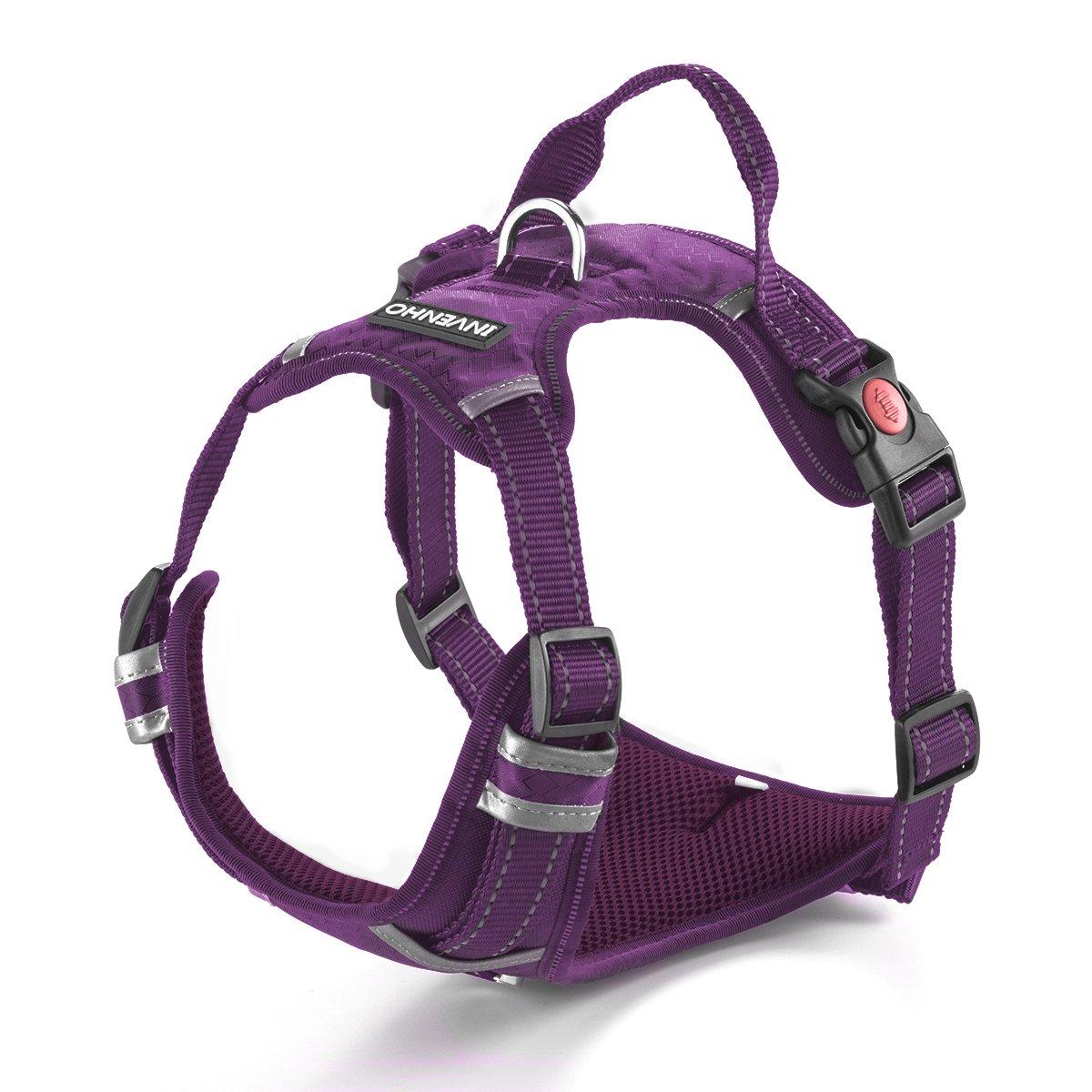Purple DogJog Dog Harness Reflective Adjustable No Pull Pet Vest Oxford Vest for Dogs Easy Control for Medium Large Dogs (Purple)