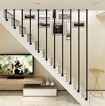 YUDE Barandilla de la escalera en Forma de L de Color Negro, Tubo galvanizado Redondo de Hierro Forjado, barandilla de Seguridad con Forma de tubería de Agua, Adecuado para escaleras, Barra: Amazon.es: