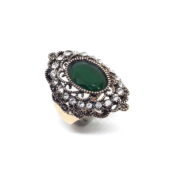 19 GoldNera Antique AFGHANI Ethnic Vintage Nomadic Statement Ring Green Stone Size 21