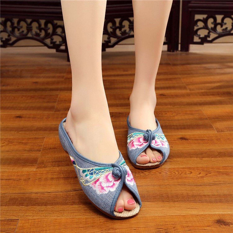 Damen Hausschuhe Pantoffeln Sommer mit Blumen Stickerei Traditionelle Chinesische Schuhe Eagsouni Szj4MEou