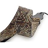 Mugig Correa para Guitarra Bajo Ajustable en Longitud Fabricada en Cuero Ecológico de Material Algo Acolchada con Ligero Relieve Formando Hojas y Flores Muy Resistente de Color Marrón