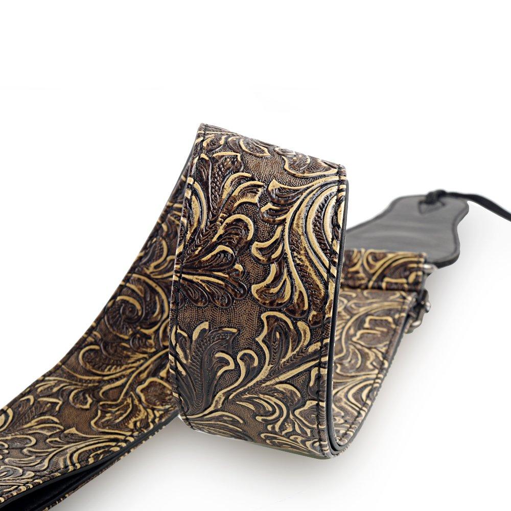 Mugig Correa para Guitarra Bajo Ajustable Longitud Fabricada Cuero Ecológico de Material