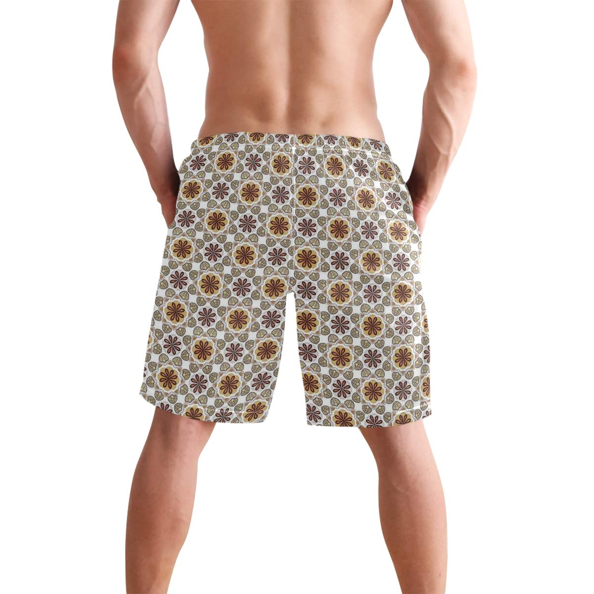 COVASA Mens Summer ShortsMiddle East Floral Boho Arabesque Influences Oriental