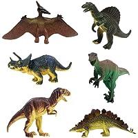 JZK Set 6 giocattolo dinosauro figura triceratopo pterodattillo stegosauro tirannosauro Rex regalo bambini bomboniera pensiero pensierino festa compleanno
