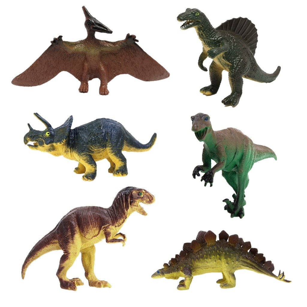 JZK 6 x Dinosaurier Spielzeug, Triceratops Pterodaktyl Stegosaurus Allosaurus Tyrannosaurus Rex, Dino Figuren Geschenk Dekoration für Kinder Geburtstag Party Mitgebsel