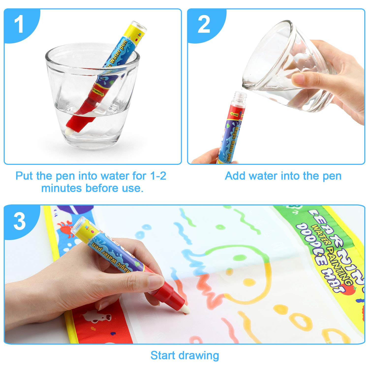 SENWOW Water Drawing Mat 46*30cm - Water Doodle Mat with Magic Pen - Drawing Painting Toy, Perfect Educational Toys for Children Over 3 Years