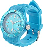 St. Leonhard Unisex-Uhren: Sportliche Silikon-Quarz-Armbanduhr, Lupen-Mineralglas, himmelblau (Unisex Silikon-Armbanduhren)